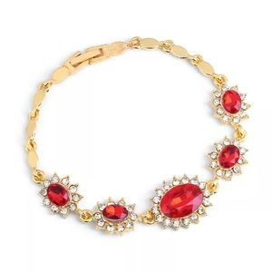 ❤️gorgeous ruby rhinestone gold plated bracelet